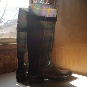 Ralph Lauren Rain Boots Plaid Sz 9 Knee High